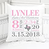 Sew Cute by Me Designs Original Birth Announcement Pillow for Baby Girls Nursery - Birth State in Pink and Grey - Includes Personalized Pillowcase and Pillow Insert 14''x14'' or 16''x16''