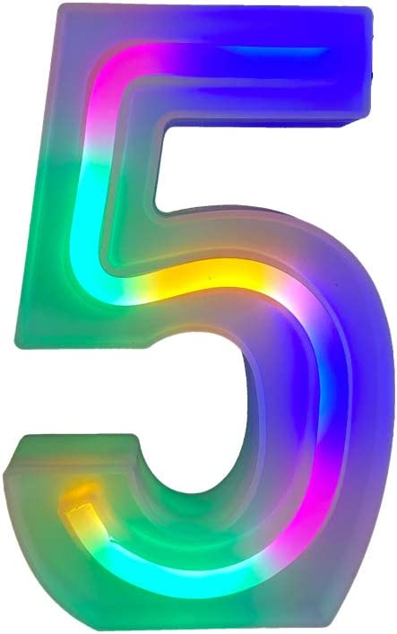 QiaoFei Light Up Marquee Letters Lights Letters Neon Signs,Wall Decor/Table Decor for Home Bar Christmas, Birthday Party, Valentinefs Day Words-Colorful Numbers (5)