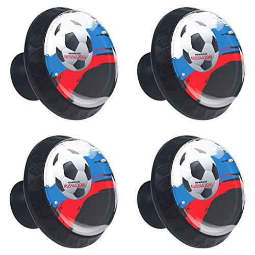 DEYYA 4 PCS Russia Soccer Ball Crystal Glass Drawer Knob Pull Handle 30mm Ergonomic Circle Furniture Cabinet Handle for Kitchen Dresser Cupboard - Crystal Russia