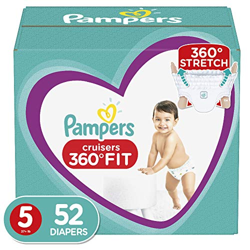 Diapers Size 5, 52 Count – Pampers Pull On Cruisers 360˚ Fit Disposable Baby Diapers with Stretchy Waistband, Super Pack
