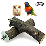 ULIGOTA Natural Apple Branch Wood Stand Platform Chew Toy for Hamster Chinchilla and Guinea Pig, Natural Wood Bird Cage Perch for Parrot Cages Toy 2P