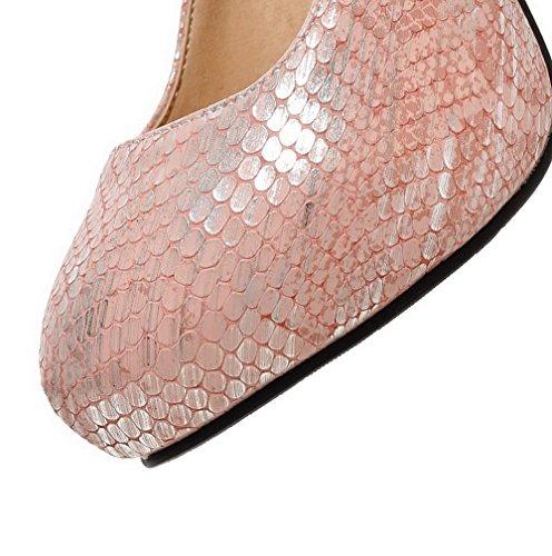 VogueZone009 Damen Hoher Absatz Weiches Material Rein Schnalle Rund Zehe Pumps Schuhe Pink