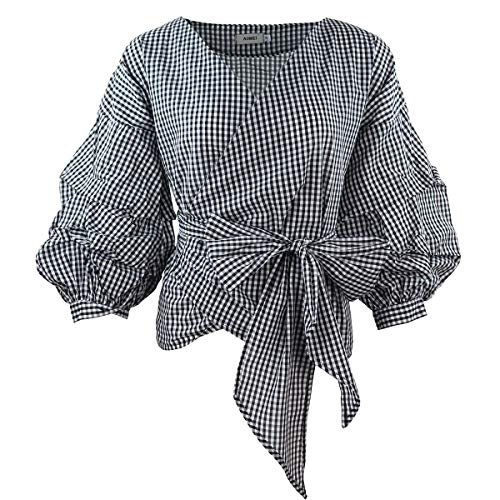 - AOMEI Women Spring Summer Blouses with Puff Sleeve Sashes Shirts Tops (3XL, Plaid)