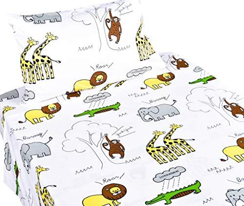 J-pinno Jungle Animals Lion Giraffe Monkey Twin Sheet Set for Kids Boy Children,100% Cotton, Flat Sheet + Fitted Sheet + Pillowcase Bedding Set ()