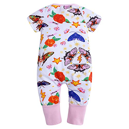 ZFTTZYMX Baby Girls Boys 1Piece Short Sleeve Zipper Romper Baby Cotton Onesies Graphic Pajamas
