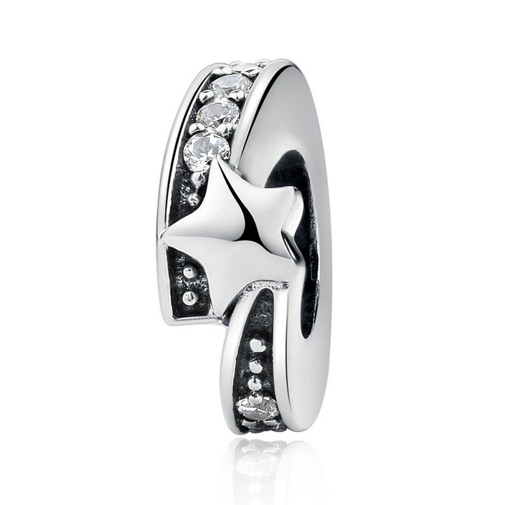 The Kiss Shimmering Galaxy Celestial Stars Moon 925 Sterling Silver Bead Fits European Charm Bracelet