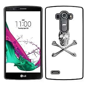 LG G4 , JackGot - Impreso colorido protector duro espalda Funda piel de Shell (Blanco Plata Crossbones Cráneo Negro)