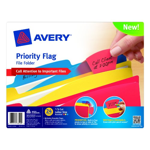 Avery Assorted Color File Folder with Priority Flag, 1/3 Cut, Letter Size, Pack of 24 (73514) by Avery