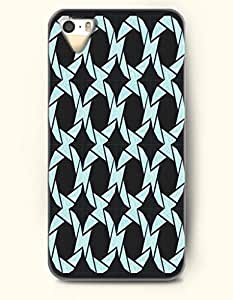 Phone Case For iPhone 5 5S Pale Turquoise Circles In Black Background - Hard Back Plastic Case / Geometric Pattern...