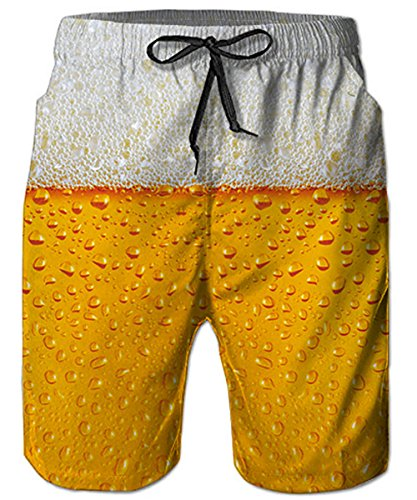 TUONROAD Graphic Printed Swimming Trunks Retro Vintage Swim Shorts Bright Colored Yellow Orange Beer Grey Bubbles Cool Board Shorts Adjustable Surf Shorts for Adult Youth Dude Big Men Boy