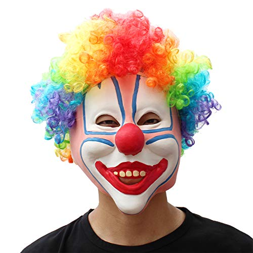 PartyCostume - Clown Mask - Halloween Scary Colorful