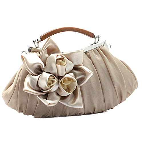 Dunland Womens Silk Flowers Luxury Evening Wedding Party Purse Clutch Handbag Ivory