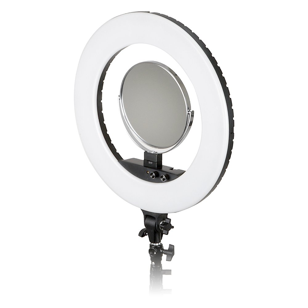 Fotodiox Vlog-LED-Ring-Pro-Blk Selfie Starlite Bi-Color Dimmable LED Ring Light for Portrait, Photography, Makeup, YouTube, Vine Video & More, Includes Light, Phone Clamp, Vanity Mirror, 18'', Black
