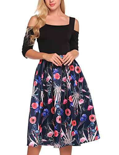 ACEVOG Women's Vintage Dresses Patchwork Floral Short Sleeve A-Line Swing Tea Party Dress