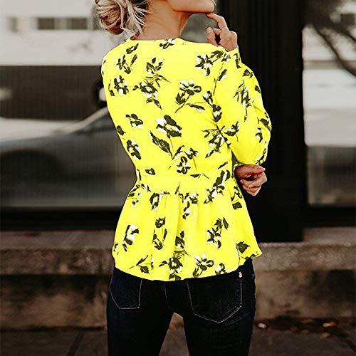 Femme en col CL Femme en Courses Mode Imprim Polyester Chemise pour Long V N Profond Sexy Red Floral ud Papillon Vacances Homme Chemisier Sleve nbsp;col Chemisier KJH21 pour Tops Jaune V fte 0xfXaqAw08