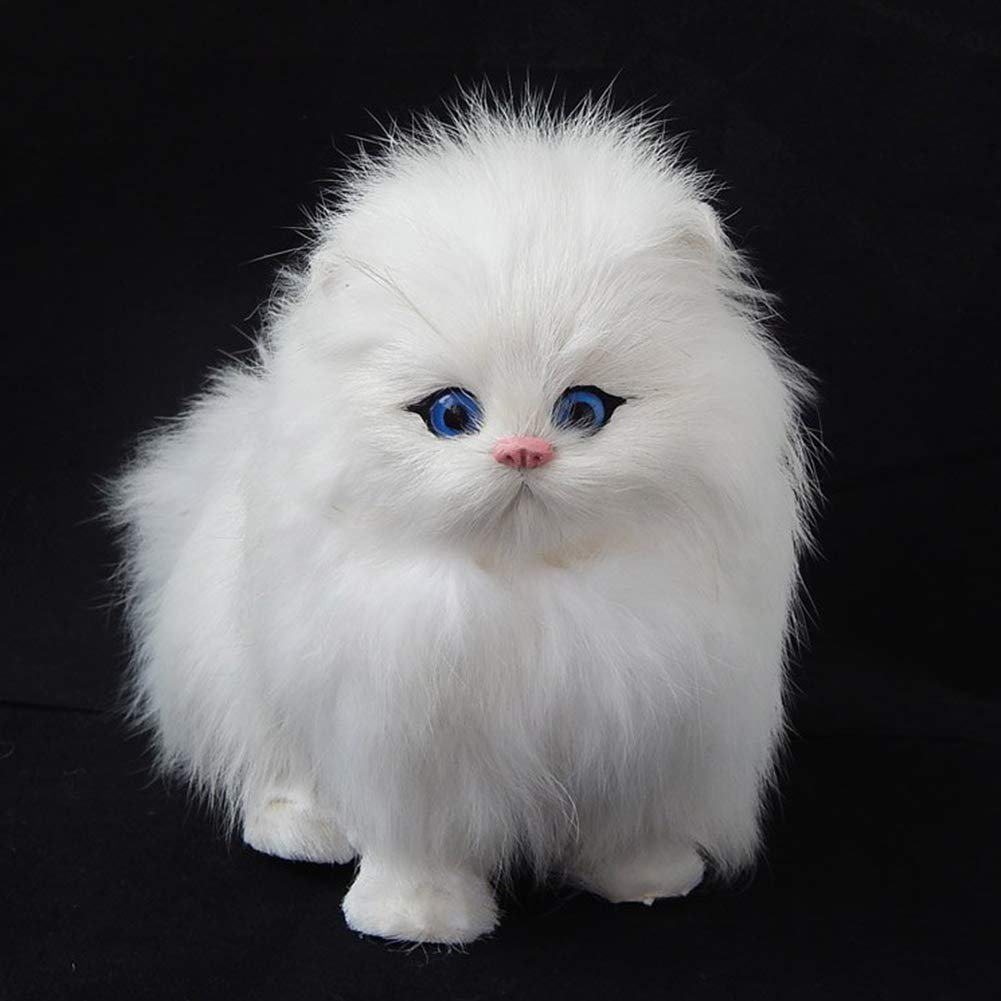 ef36601f1574 Buy Leoie Plush Simulation Cat Electronic Pet Doll Imitation Animal Toy  with Meow Sound Function Children's Cute Pet Toy Model Christmas Gift Pure  White ...
