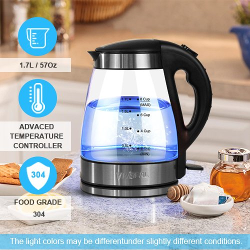 Electric Kettle Tea Glass Kettle Fast Heating 1 7 Liter