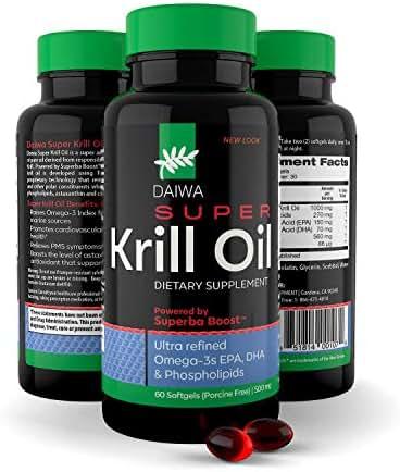 Daiwa Super Krill Oil – Super Omega 3 Krill Oil Capsules with a Superba Boost – Super Krill Oil 1000 mg - EPA DHA for Joint, Brain, Heart Health - Natural Organic Fish Oil 1000 mg Softgels, 60 Count
