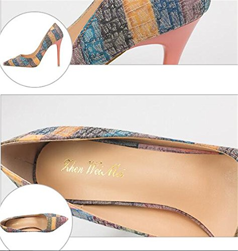 MAKEGSI Sexy Multicolor Women Pointed Toe Stiletto High Heels Pumps Shoes Orange U7RApE1VB