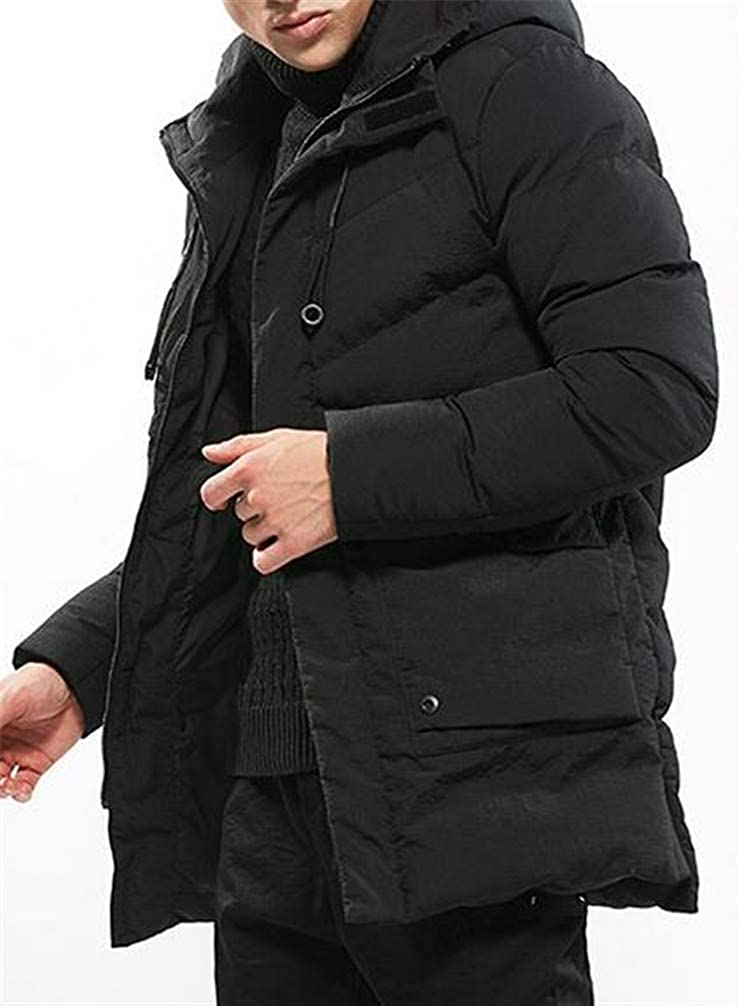 Cromoncent Men Padded Down Hoodid Solid Pocket Bomber Quilted Jacket Parka Coat