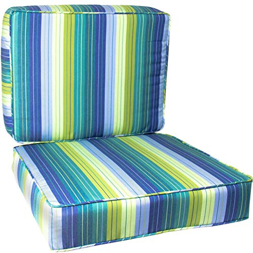 BBQGUYS Sunbrella Seville Seaside Medium Outdoor Replacement Club Chair Cushion Set W/Piping