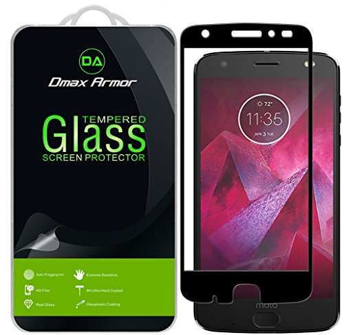 [2-Pack] Dmax Armor for Motorola Moto Z2 Force Edition / Moto Z Force Edition (2nd Gen) [Tempered Glass] Screen Protector, (Full Screen Coverage) With Lifetime Replacement Warranty (Black)