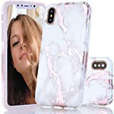 BAISRKE iPhone X Case, Shiny Rose Gold Metallic White Marble Design Clear Bumper Matte TPU Soft Rubber Silicone Cover Phone Case for iPhone X (2017) 5.8 inch