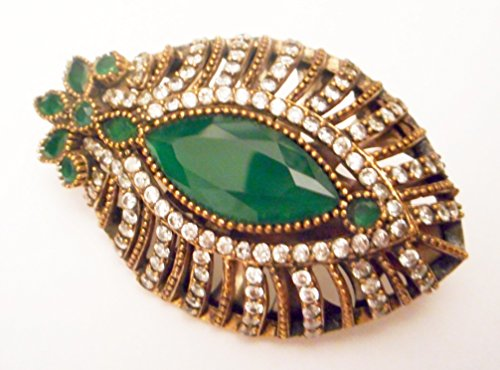 - Antique Turkish Ottoman Silver diamond and emerald brooch pin