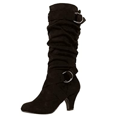 b7f022b49810 Amazon.com | Women's Mid-Calf Boots Round Toe Winter Boots Buckle Strap Low  Heels Warm Plush Platform Soft Slouchy Riding Boots | Mid-Calf