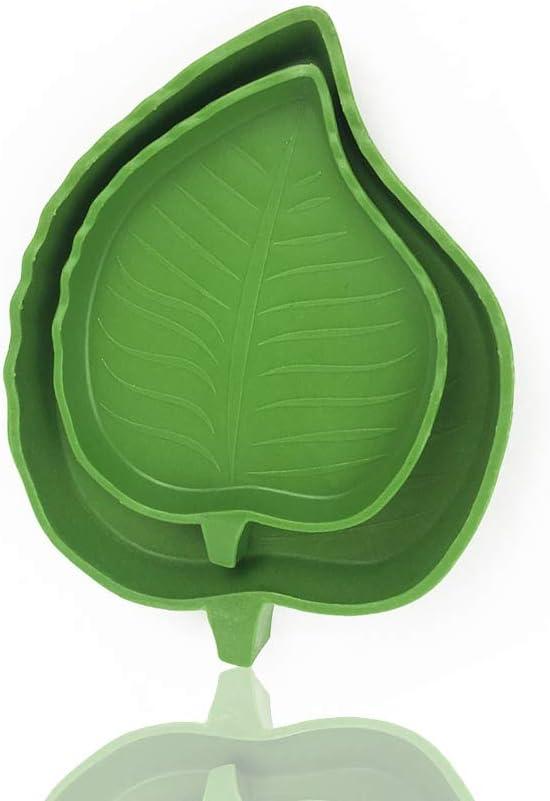 SLKIJDHFB 2Pcs Reptile Food Water Bowl, Leaf Shape Dish for Tortoise Snake Corn Feeding Plate 2 Sizes