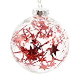 Christmas Tree Decorations, Jchen(TM) Happy Year Christmas Decor Plastic Christmas Tree Decoration Ball Pendant Hanging Home Ornament (10CM, Red)