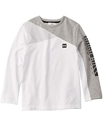 73c92b618a60 HUGO BOSS KIDS Boys Crew Neck long Sleeve Tee WHITE GREY MARL 8   Amazon.co.uk  Clothing