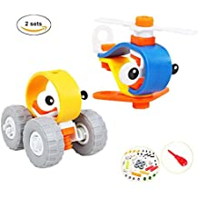 Meyall Take Apart Toy Sets, 30pcs DIY Racing Car Assembly Airplane Helicopter Toys, STEM Toys with Tools for Children Boys Girls Kids (Car& Helicopter)