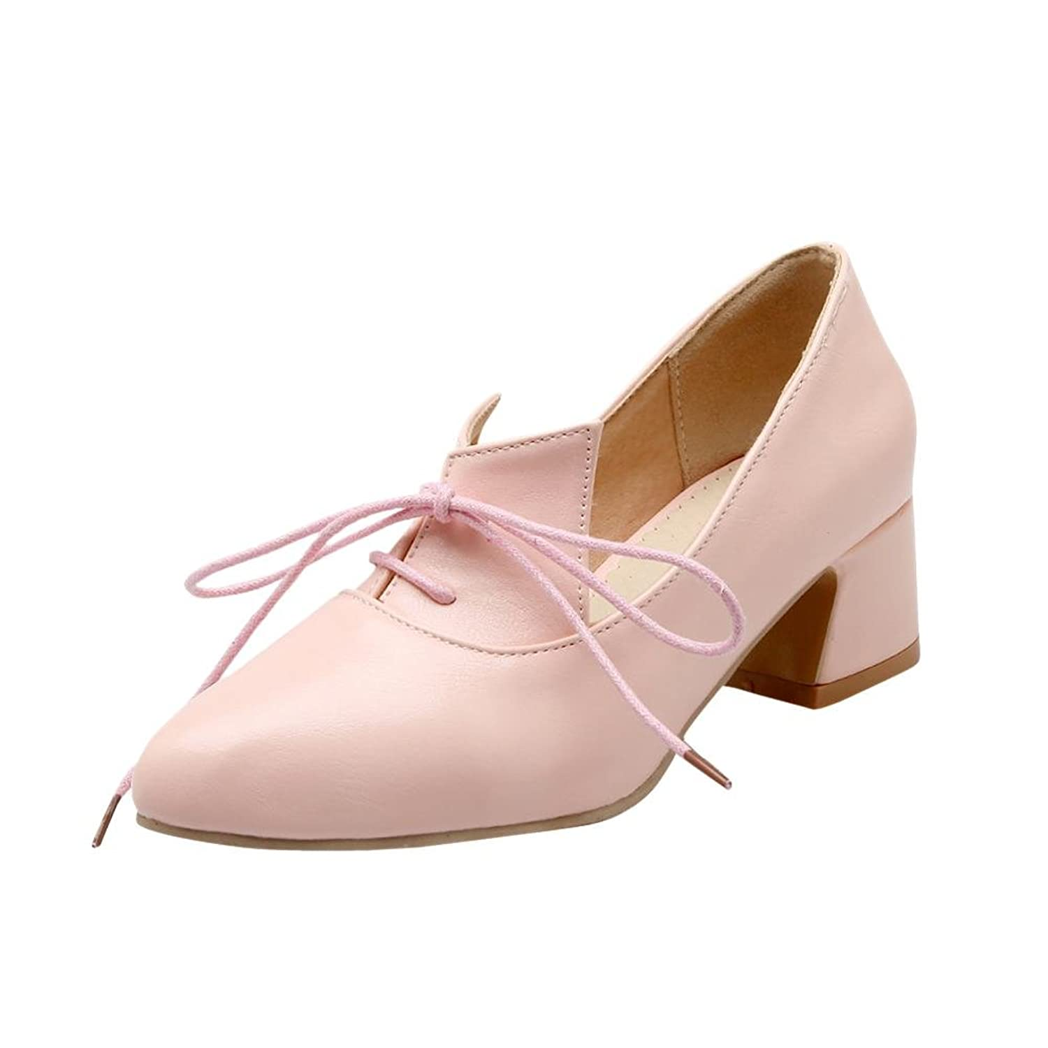 delicate Latasa Women's Fashion Solid Color Pointed-toe Lace-up Mid Heel Chunky Oxford Shoes