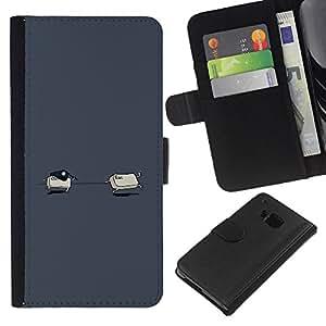 LECELL--Cuero de la tarjeta la carpeta del tirón Smartphone Slots Protección Holder For HTC One M7 -- Ctrl Esc divertido --
