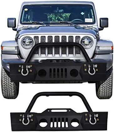 Goplus Front Bumper For 2007-2016 Jeep Wrangler JK With Hooks & Fog Light Hole (Front Bumper- Fog Light)