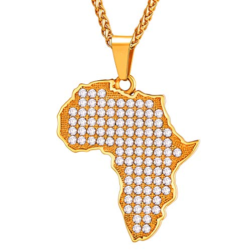 U7 Men Bling Iced Out Africa Map Pendant Necklace 18K Gold Plated Chain Rhinestone Crystal African Hip Hop Jewelry, 22