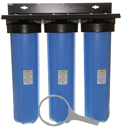 iSpring WGB32BM 3-Stage Whole House Water Filtration System w/Iron & Manganese Reducing Filter (Best Whole House Water Filter For Well Water)