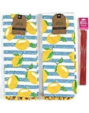 Serafina Home Summer Fun Kitchen Dish Towels Set, 4pc: Bright Colorful Cotton Towels with Fringe