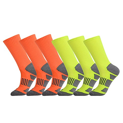 JOYNÉE Men's 6 Pack Athletic Cushion Crew Socks Performance Running Socks - Running By Pack Six