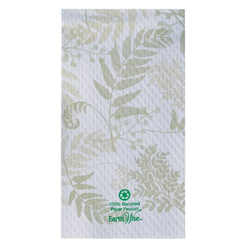 Hoffmaster 856301 Earth Wise Recycled Paper Guest Towel, Overall Embossed, 2 Ply, 1/6 Fold, 17