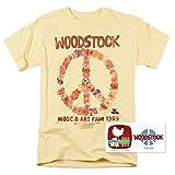 Popfunk Woodstock Peace Symbol Light Yellow T Shirt & Exclusive Stickers (Medium)