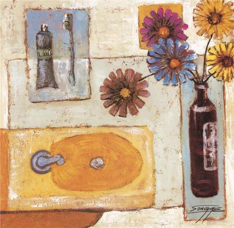 The Perfect Effect Canvas Of Oil Painting 'Flowers In The Bathroom' ,size: 18x19 Inch / 46x47 Cm ,this Amazing Art Decorative Prints On Canvas Is Fit For Foyer Artwork And Home Artwork And Gifts