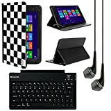 VanGoddy Mary 2.0 Standing Portfolio Case for Alcatel OneTouch Pixi 3 10-inch Tablet with Bluetooth Keyboard & Black Headphones, Checker