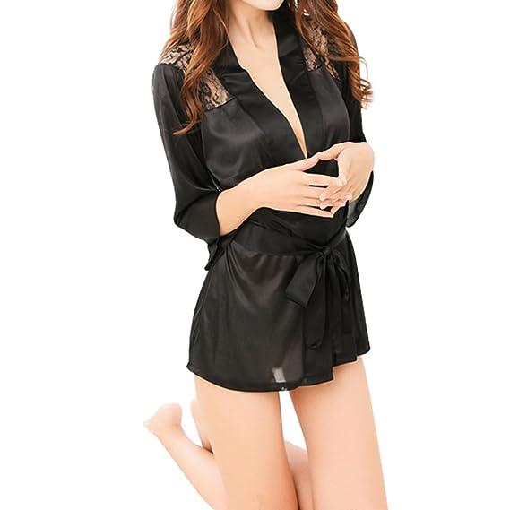 Westeng Lencería Ropa Interior Satén Lisa Encaje Mujer Camisón Pijama Señora Ropa Salto de Cama NegroM, 1Pcs: Amazon.es: Ropa y accesorios