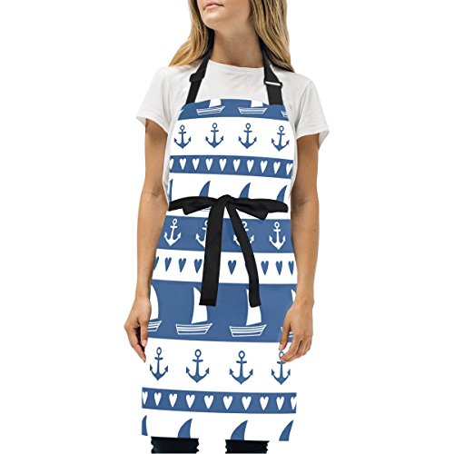 EVERUI Women Cooking Kitchen Navy Vector Seamless Pattern Bib Apron, with Pockets, Machine Washable