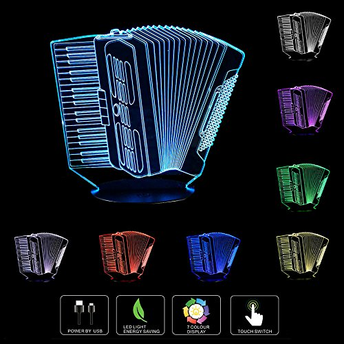 Unitake 3D LED Lamp Accordion Musical instruments Girls Boys Bithday Gift Acrylic Table Night light Decorative Illusion 7 color change