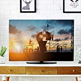 Analisahome tv dust Cover Team Engineer Work Connect Jigsaw Puzzle Piece Together Team Dust Resistant Television Protector W30 x H50 INCH/TV 52''