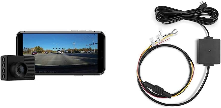 """Garmin Dash Cam 56, Wide 140-Degree Field of View in 1440P HD, Very Compact with Automatic Incident Detection and Recording & 010-12530-03 Parking Mode Cable, 6.60"""" x 2.70"""" x 2.00"""", Black"""