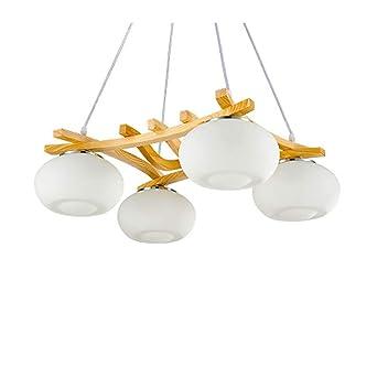 Kronleuchter Vintage Industriell Holz Hängende Lampen 4-flammig Weiß ...